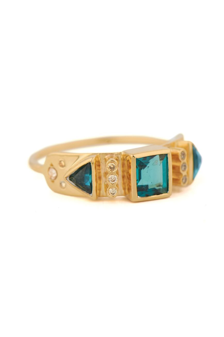 celine daoust totem Blue tourmaline and diamonds ring