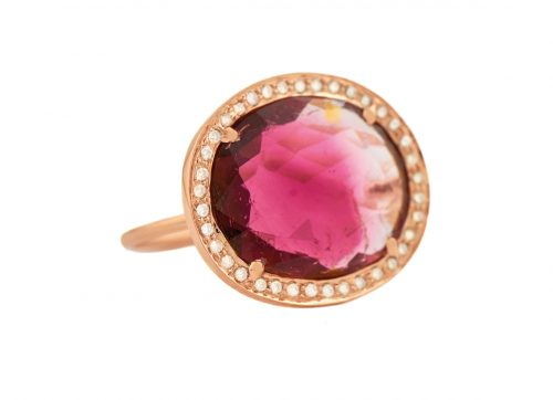 celine daoust 14kt light rose gold stella tourmaline and diamond ring