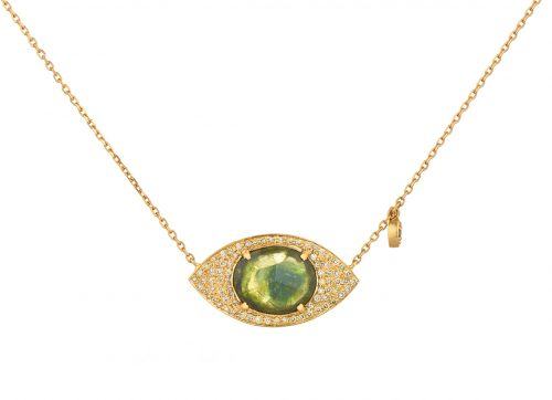 celine daoust one of a kind tourmaline and diamonds full eye necklace