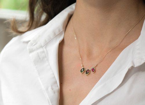 one of a kind multi tourmaline and diamonds necklace