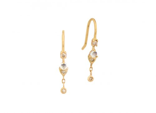 celine daoust constellation moonstone and dangling diamonds dormeuse earrings