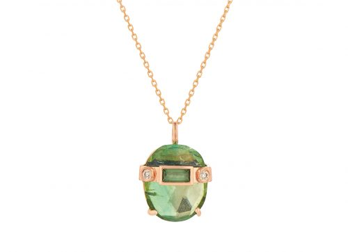 celine daoust tourmaline and baguette diamonds chain necklace