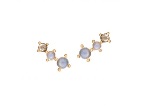 Celine Daoust One of a Kind Two Moonstone and rose cut diamond Earrings