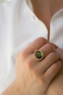 celine daoust 14k light rose gold Green stella tourmaline and diamond ring