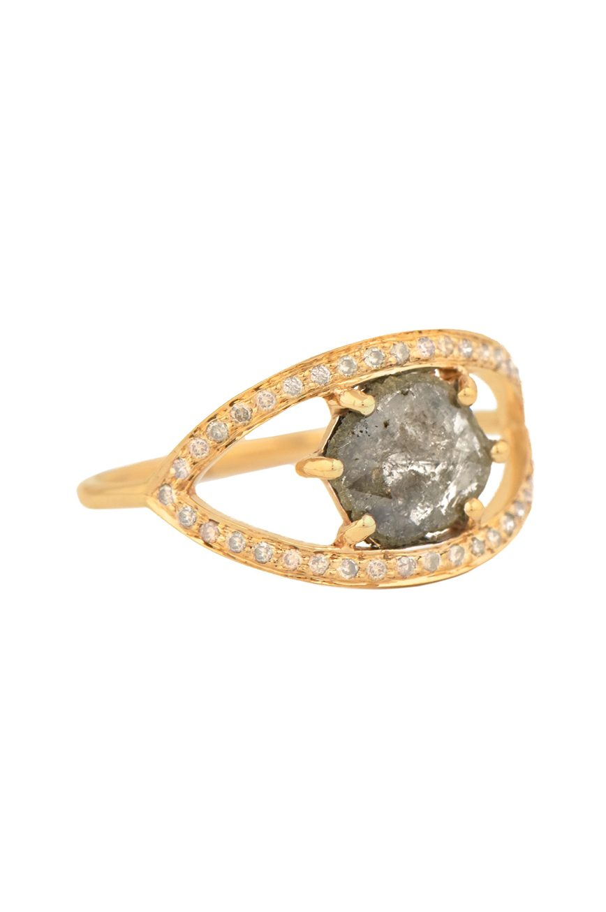 celine daoust one of a kind grey diamond and diamond open eye ring