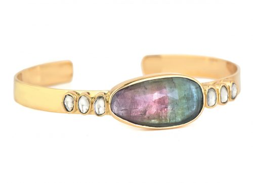 Celine Daoust One of a Kind Tourmaline and polki Diamonds Bangle