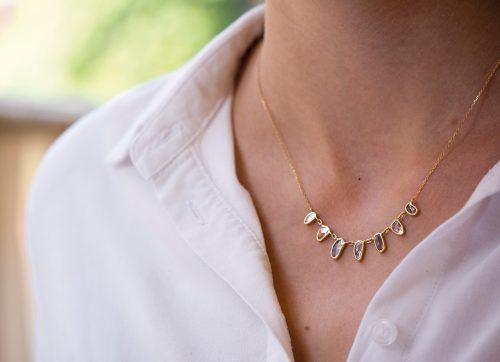 celine daoust slice of the universe multi grey diamonds slice necklace