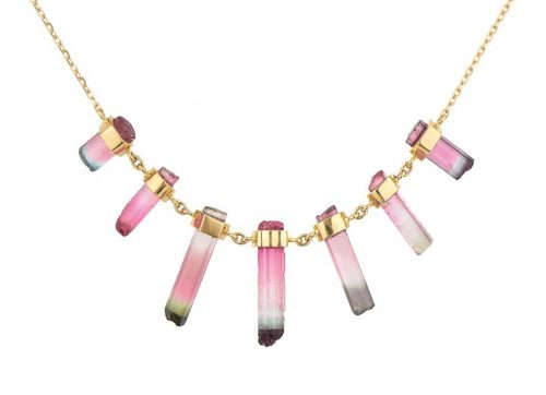 celine daoust one of a kind multi rough pencil with diamond eyes necklace