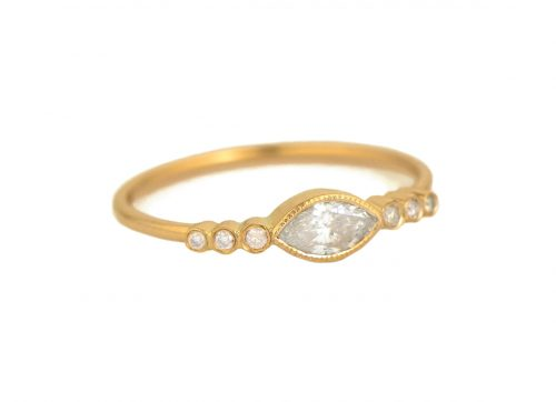 Celine Daoust Protection and Believes Marquise Diamonds and Diamond Eyes Ring