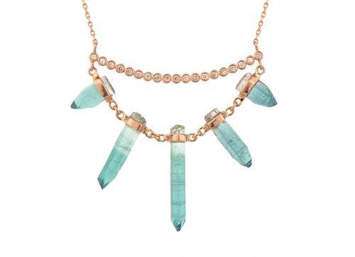 celine daoust one of a kind multi tourmaline pencil and diamonds line necklace