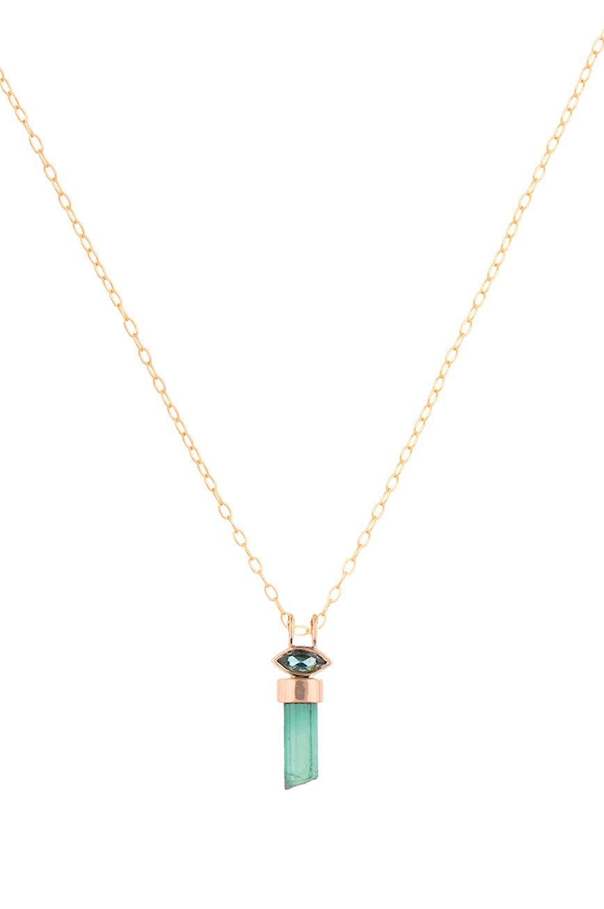 celine daoust rose gold tourmaline pencil and eye marquise chain necklace