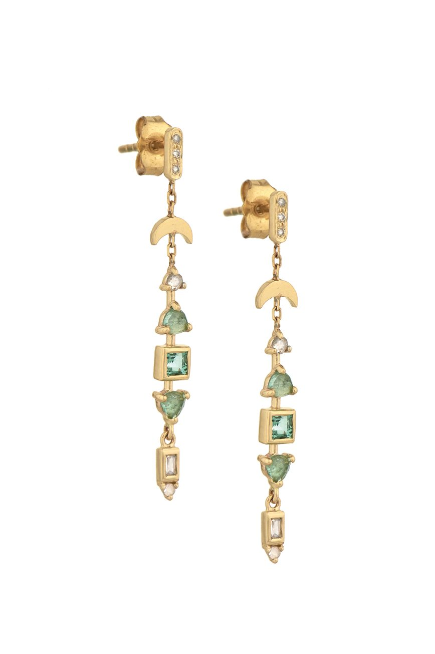 celine daoust one of a kind tourmaline and diamonds earrings