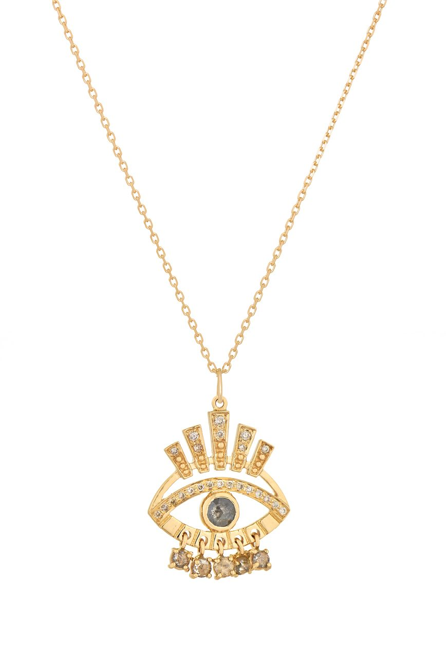 celine daoust protection and believes large sun and grey diamond eye chain necklace