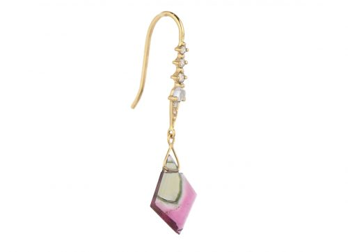 celine daoust one of a kind geometric tourmaline moonstone and diamonds dormeuse earring