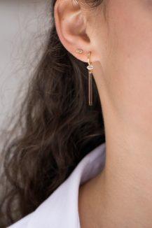 celine daoust one of a kind tourmaline pencil and diamond single hoop earring