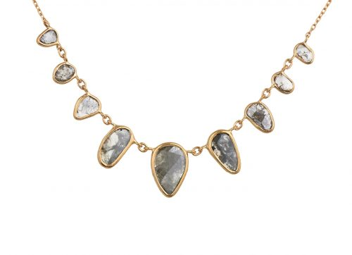 celine daoust yellow gold and multi diamond grey slices necklace
