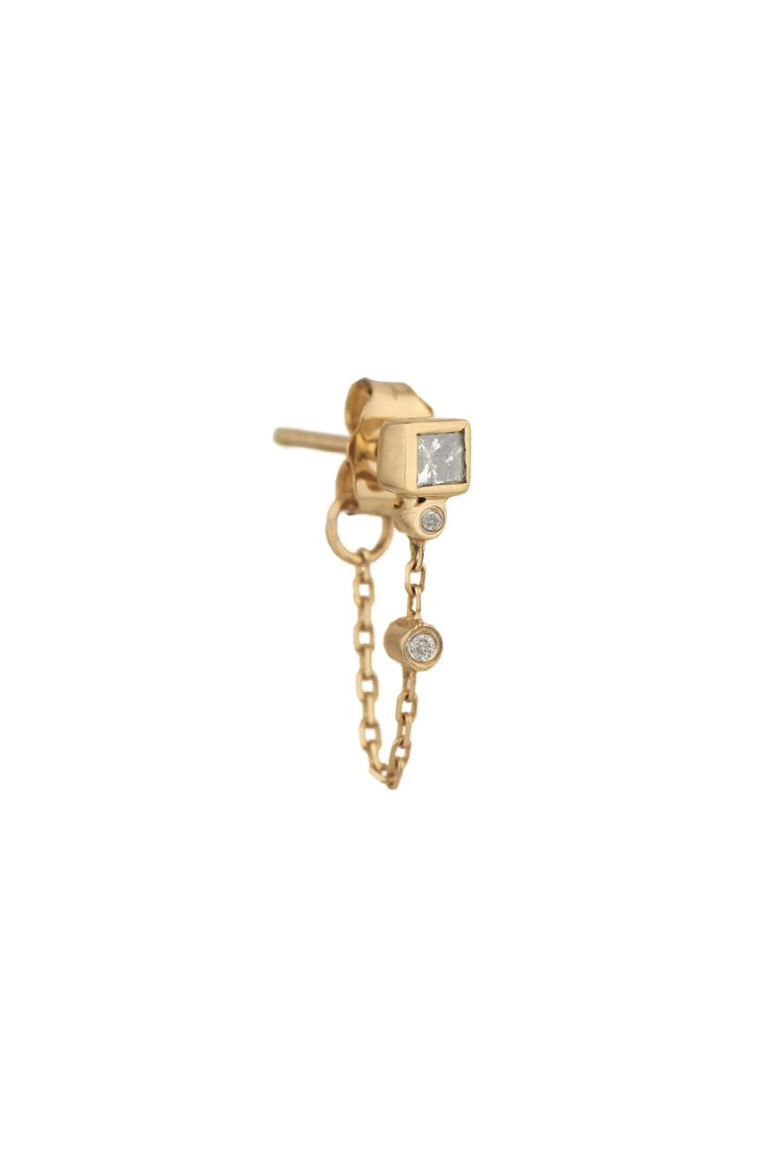 Celine Daoust Square diamond and reversed setting brillant single chain earring