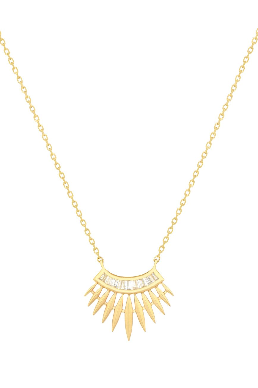 Celine Daoust Stars and universe rising sun with baguette diamonds Necklace