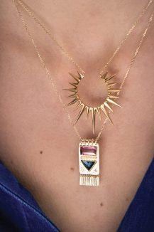 celine daoust totem tourmaline baguette and diamonds necklace