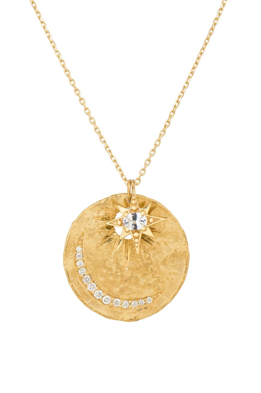 Celine Daoust Charms sun and moon medal and diamonds Necklace