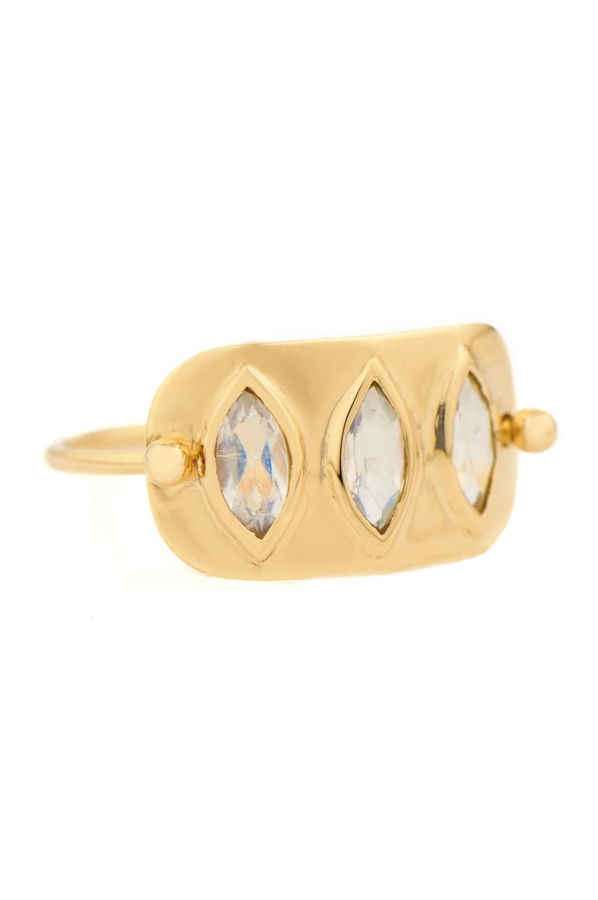 Celine Daoust Geometric Marquise Moonstones Plate Ring