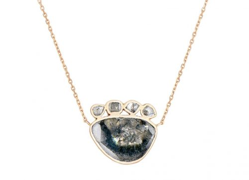 Celine Daoust Slice of the Universe Grey Diamond slice central and on top Necklace