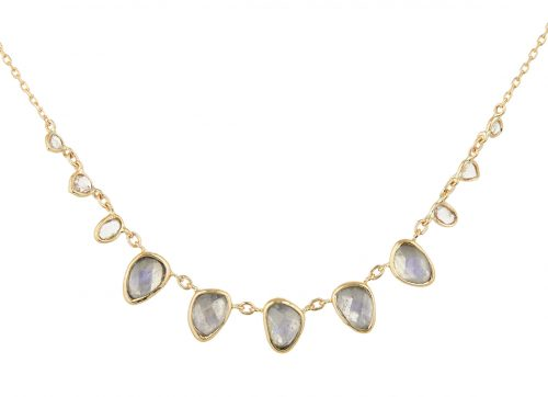celine daoust one of a kind multi moonstone and rose cut diamonds necklace