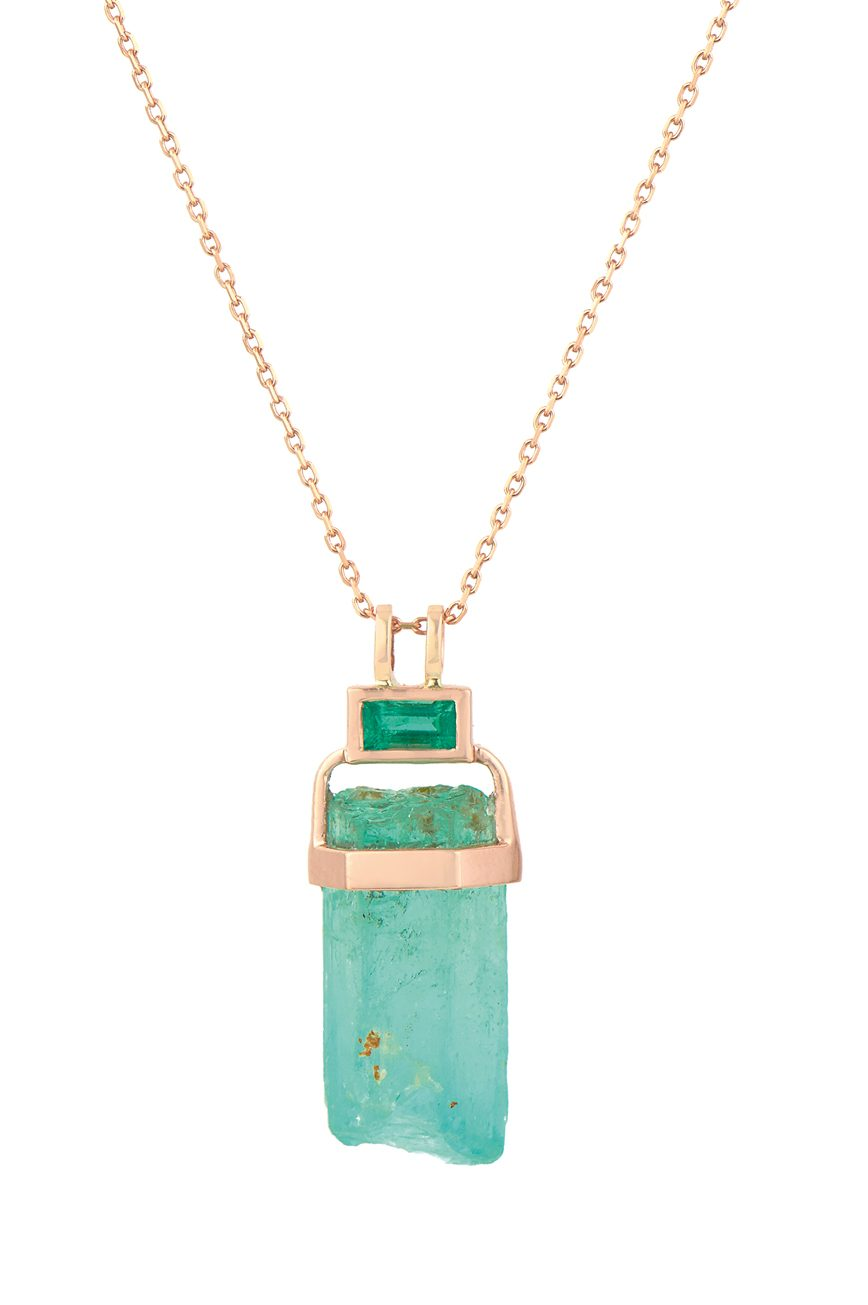 celine daoust one of a kind emerald pencil & baguette chain necklace