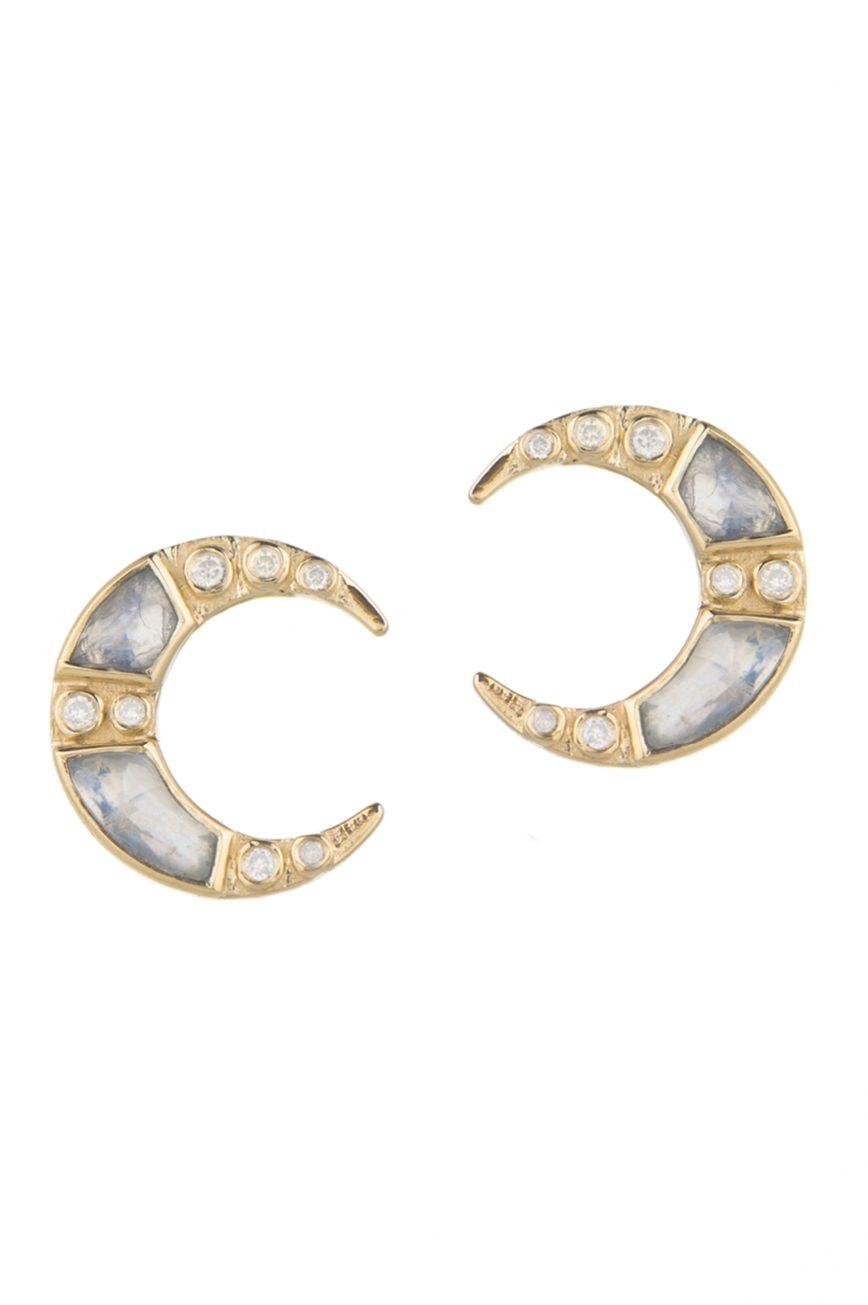 Celine Daoust Stars and Universe Moonstones and Diamonds Moon Earrings
