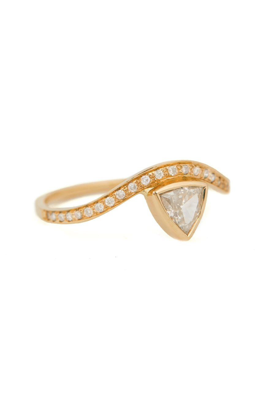 Celine Daoust Trillion White Diamond and Diamonds Wave Ring