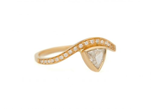 Celine Daoust Trillion White Diamond and Diamonds Wave Ring