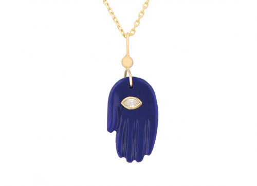 Celine Daoust Protection and Believes Lapis Lazuli & diamond eye Protection hand Necklace