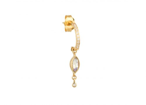 Celine Daoust Protection and Believes Moonstone and diamonds Hoop Earring