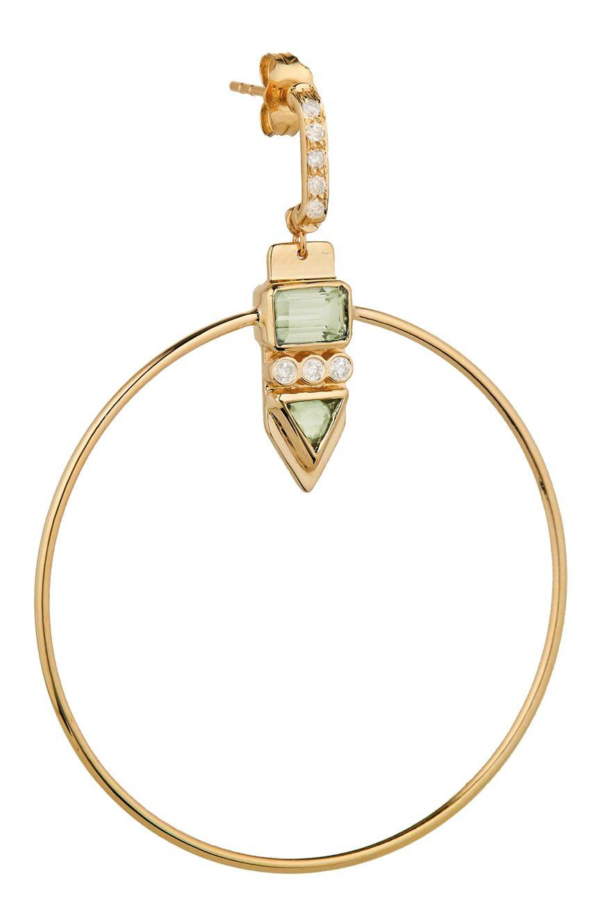 Celine Daoust Totem Tourmaline and diamonds Hoop Earring