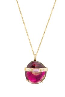 celine daoust one of a kind tourmaline and diamonds chain necklace