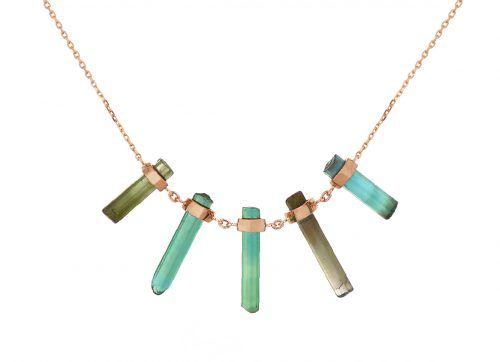 Celine Daoust One of a Kind Multi Rough Pencil Blue and Green Tourmaline Necklace