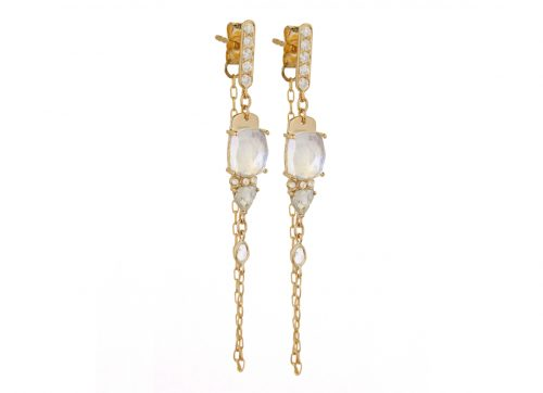 Celine Daoust One of a Kind Moonstone and diamonds rose cut with chain Earrings