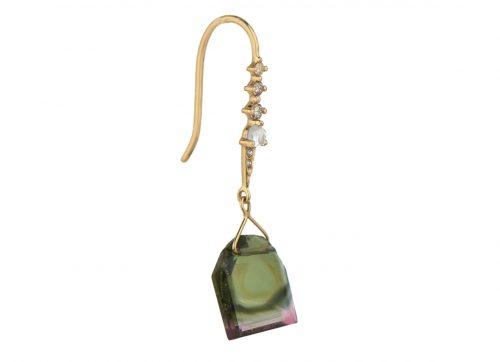 Celine Daoust One of a Kind Geometric Tourmaline moonstone and Diamonds Dormeuse Earring