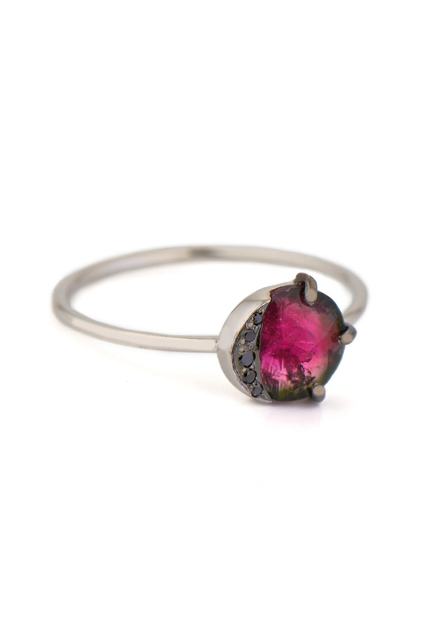 Celine Daoust One of a Kind Healing pink Tourmaline and Black Diamonds Ring