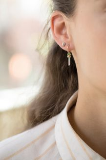 Celine Daoust Protection and Believes Baguette Aquamarine and tubes Diamonds Single Earring stud