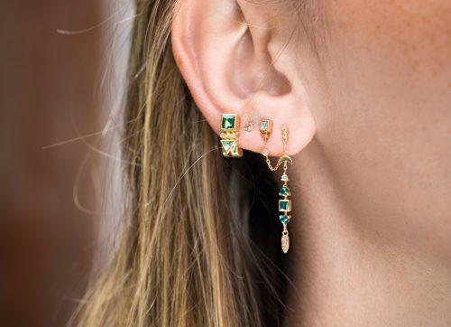 Celine Daoust Totem Tourmaline Single hoop Earring