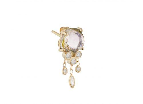Celine Daoust_One of a kind Tourmaline and Diamonds Dangling Single Earring