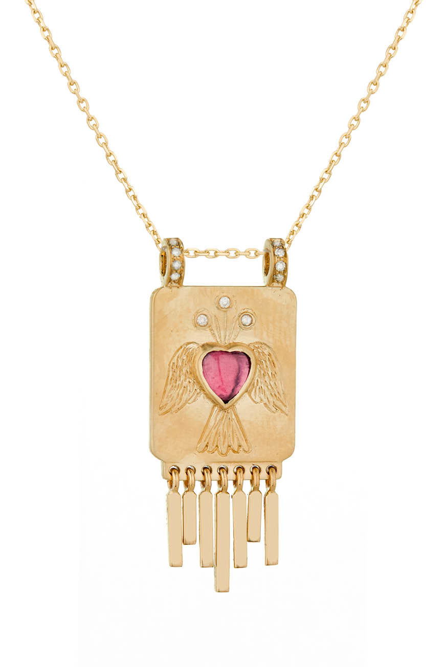 Celine Daoust Guardian Spirit Marquise Tourmaline and Diamonds Totem Chain Necklace