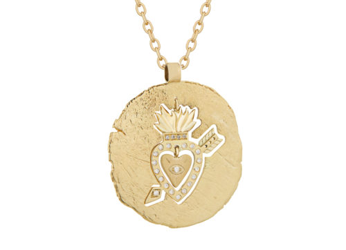Celine Daoust Protection and Believes Yellow Gold Medal Diamonds and Dangling Heart Necklace