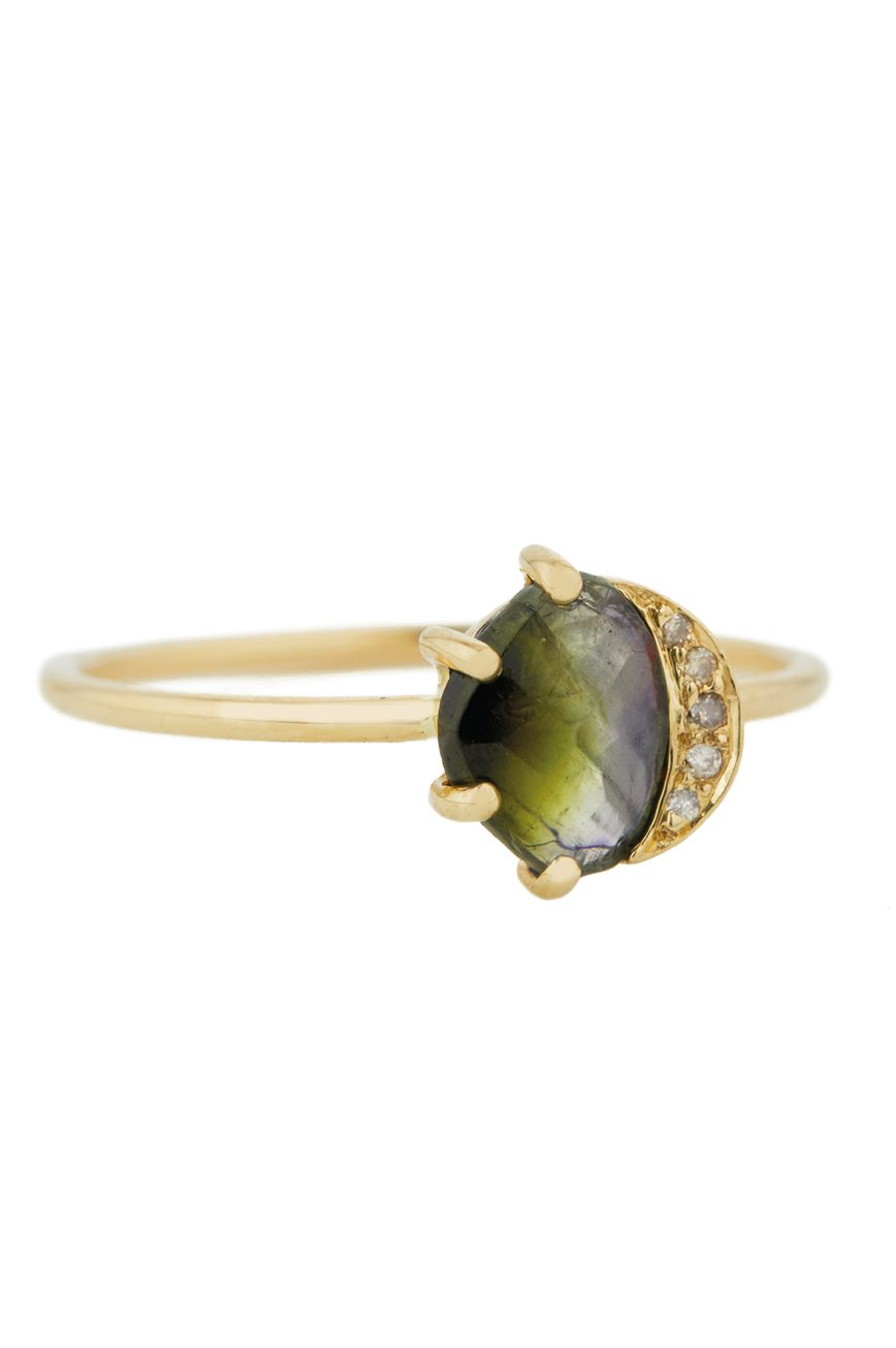 Celine Daoust One of a Kind Healing Green Tourmaline and Diamonds Ring