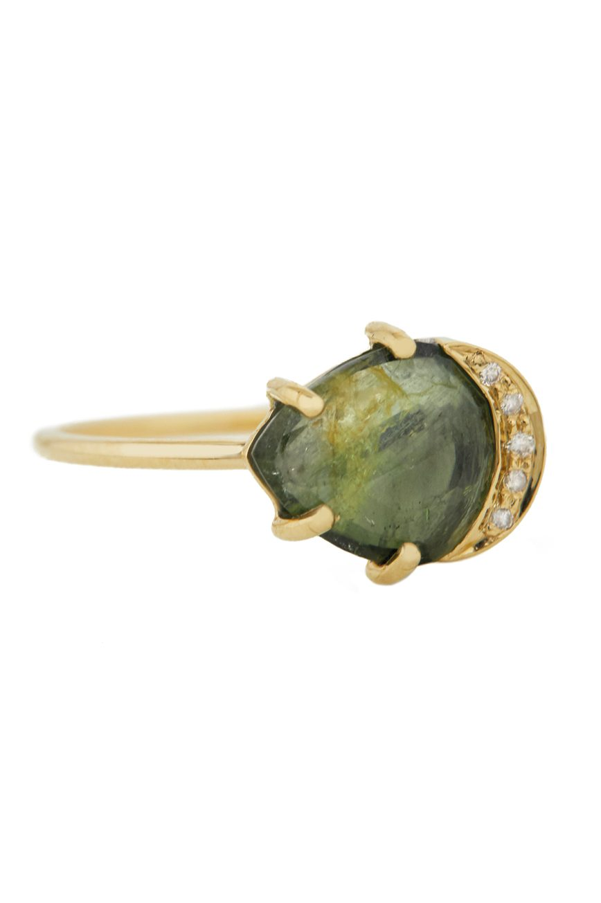 Celine Daoust One of a Kind Healing Green Tourmaline and Diamonds Ring.