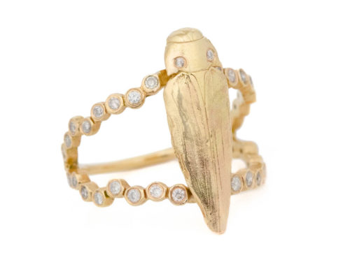 Celine Daoust From the Earth Coleopter Diamonds Ring