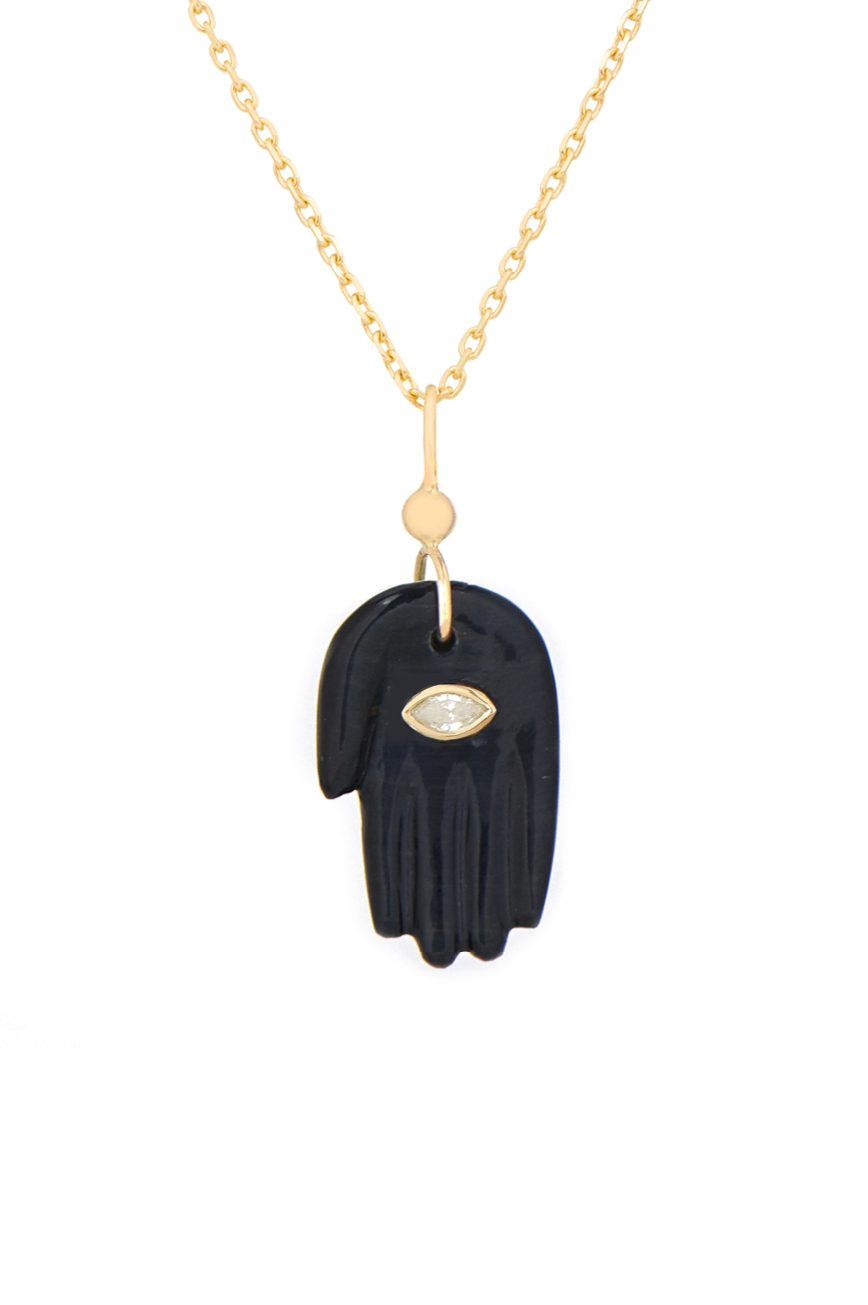 Celine Daoust Protection and Believes Black Grey tiger eye & diamond eye Protection hand Necklace