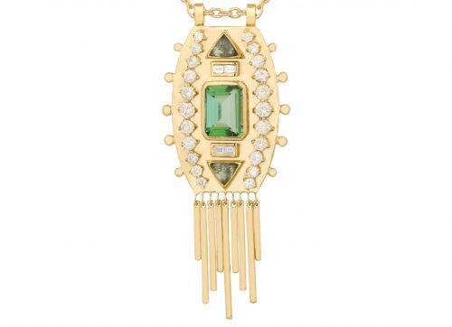 Celine Daoust Guardian Spirit Tourmaline and Diamonds Totem Chain Necklace