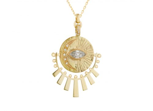 Celine Daoust Protection and Believe Plate engraved Moon Marquise Diamond and sun Beams